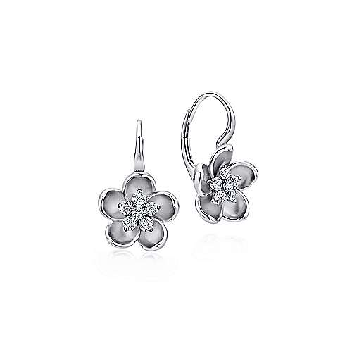 14k White Gold Floral Drop Earrings angle 1
