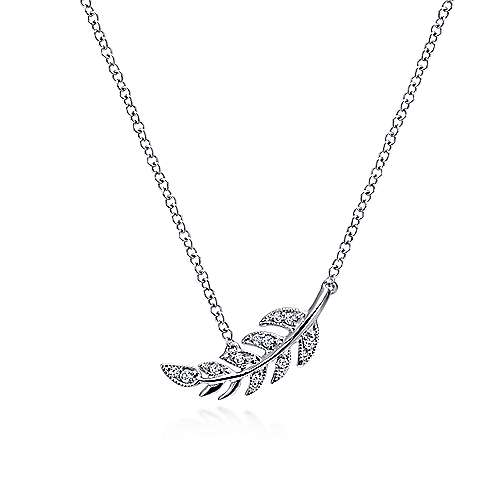 14k White Gold Floral Fashion Necklace