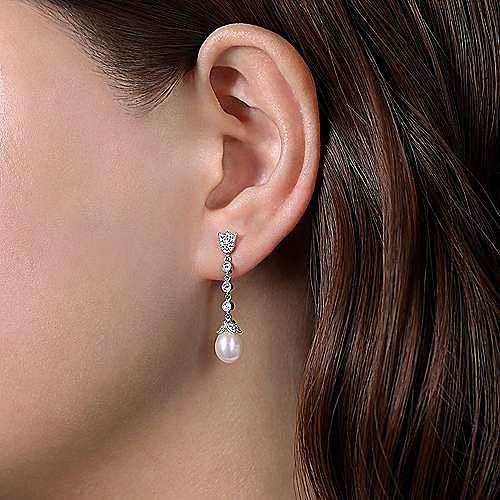 14k White Gold Floral Pearl Diamond Drop Earrings