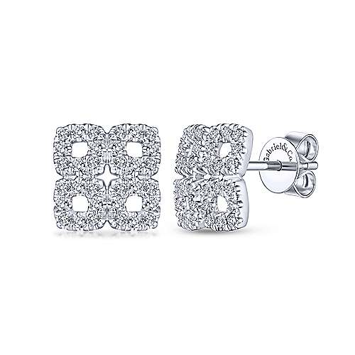 Gabriel - 14k White Gold Four Square Pave Diamond Stud Earrings