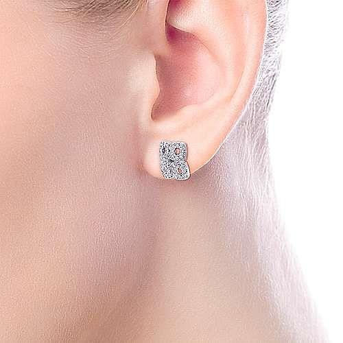 14k White Gold Four Square Pave Diamond Stud Earrings