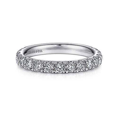 Gabriel - 14k White Gold French Pavé Band