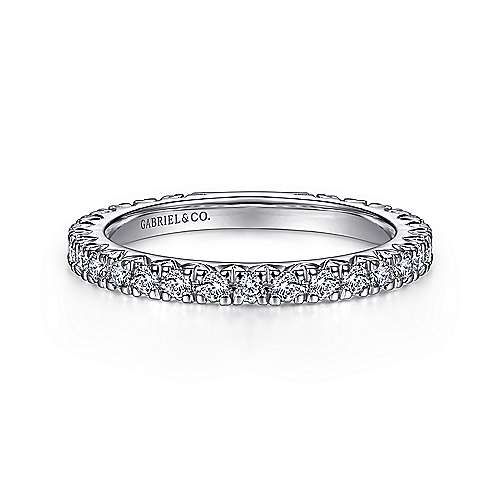 Gabriel - 14k White Gold French Pavé Set Anniversary Band