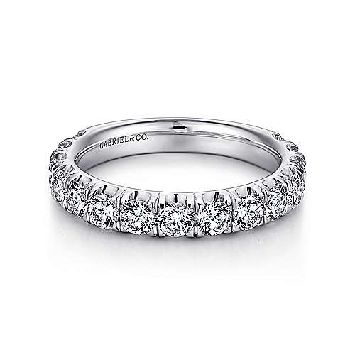 14k White Gold French Pavé Set Band