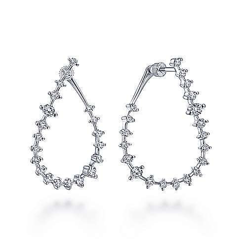 14k White Gold Front Facing Pear Shaped Diamond Hoop Earrings