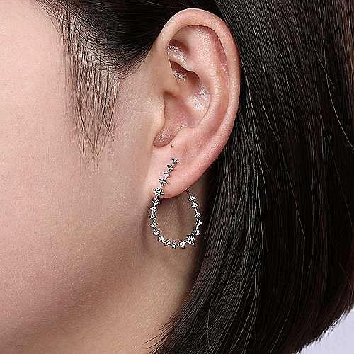 14k White Gold Front Facing Pear Shaped Diamond Hoop Earrings