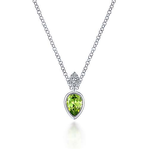 14k White Gold Gem Drops Fashion Necklace angle 1
