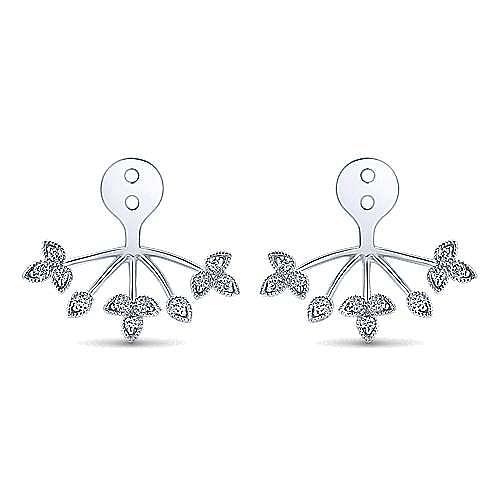 14k White Gold Gemini Earrings Enhancer Earrings angle 1