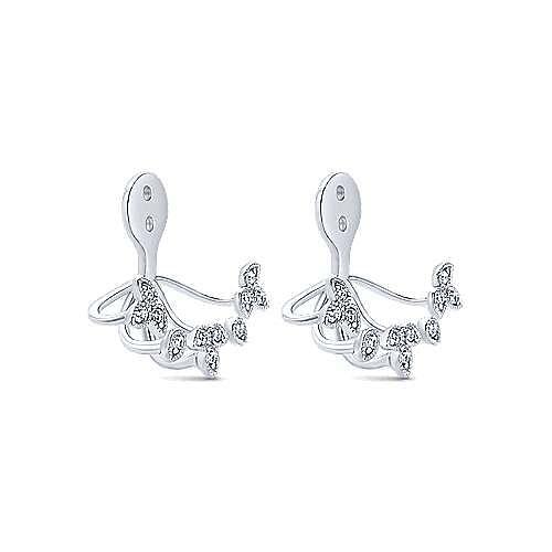 14k White Gold Gemini Earrings Enhancer Earrings angle 2