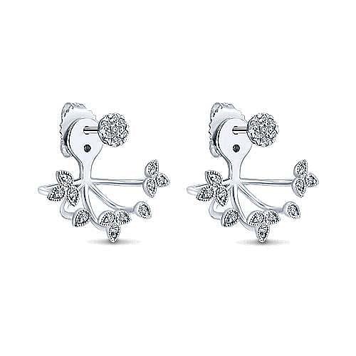 14k White Gold Gemini Earrings Peek A Boo Earrings angle 2