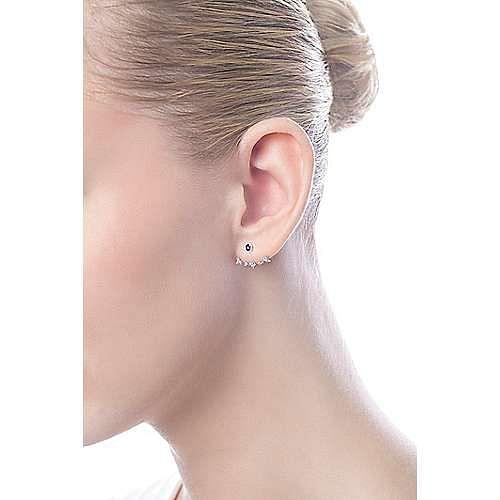 14k White Gold Gemini Earrings Peek A Boo Earrings angle 4