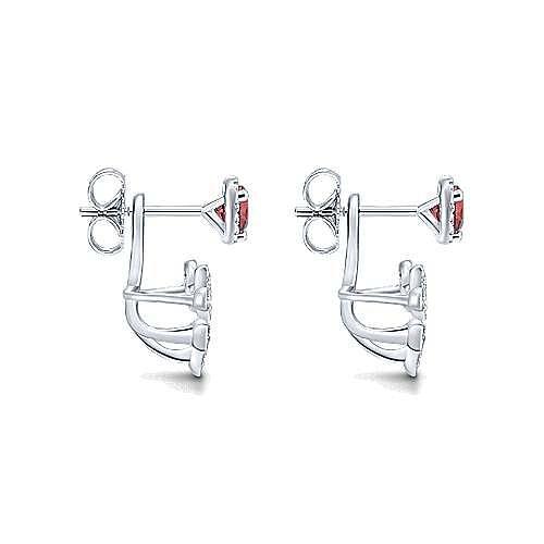 14k White Gold Gemini Earrings Peek A Boo Earrings angle 3