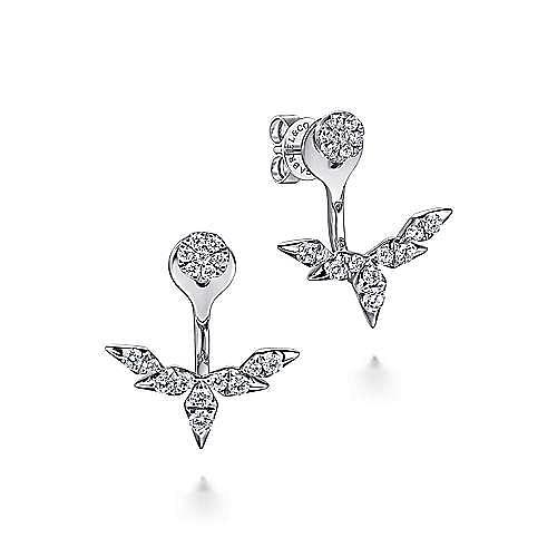 14k White Gold Gemini Earrings Peek A Boo Earrings angle 1