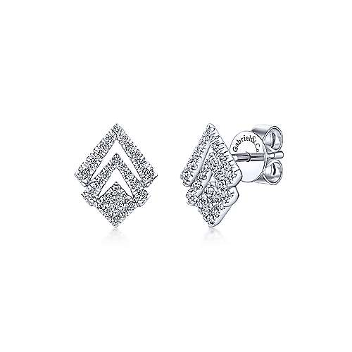 Gabriel - 14k White Gold Geometric Cutout Diamond Stud Earrings