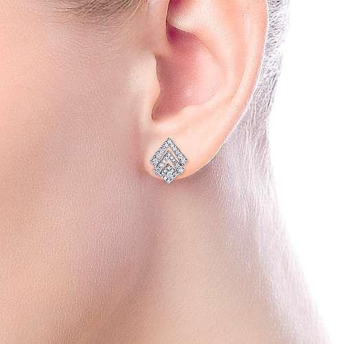 14k White Gold Geometric Cutout Diamond Stud Earrings