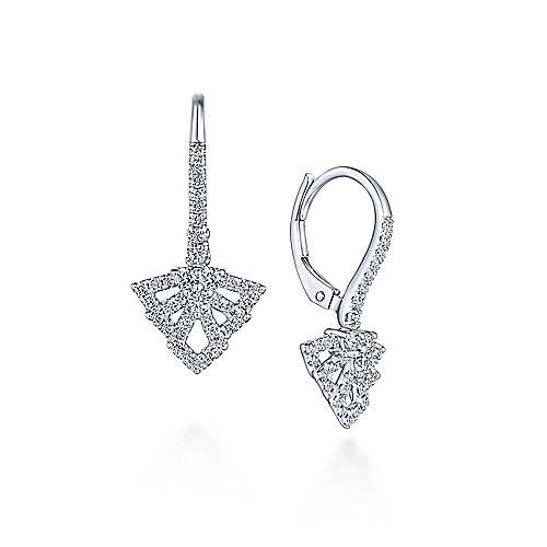Gabriel - 14k White Gold Geometric Fan Diamond Drop Earrings