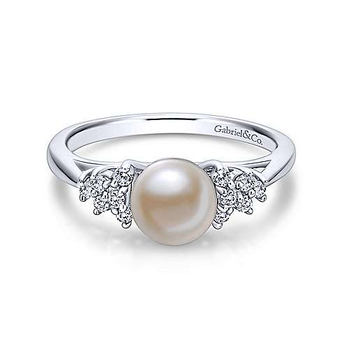 14k White Gold Grace Classic Ladies' Ring angle 7