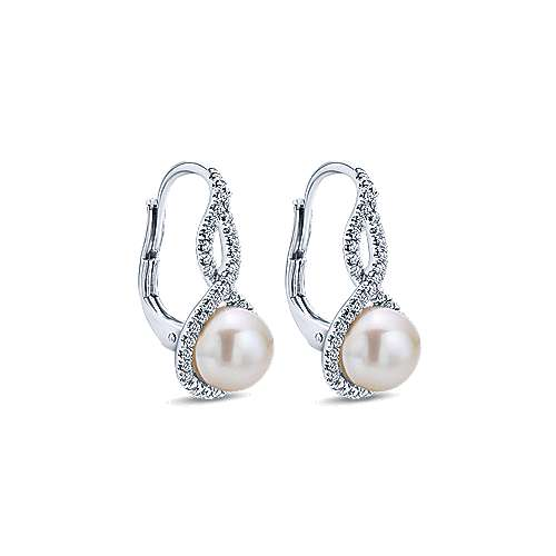 14k White Gold Grace Drop Earrings angle 2