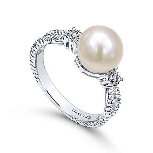 14k White Gold Grace Fashion Ladies' Ring angle 3