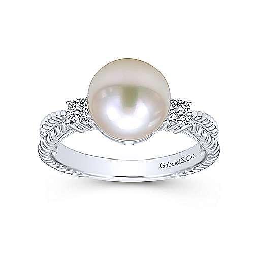 14k White Gold Grace Fashion Ladies' Ring angle 4
