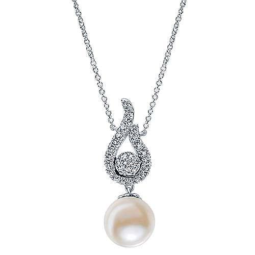 14k White Gold Grace Fashion Necklace angle 1