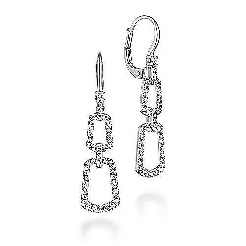 Gabriel - 14k White Gold Graduated Chain Link Diamond Drop Earrings