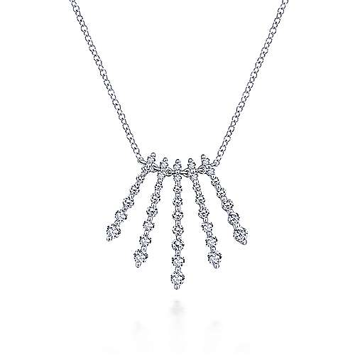 Gabriel - 14k White Gold Graduated Diamond Fan Necklace