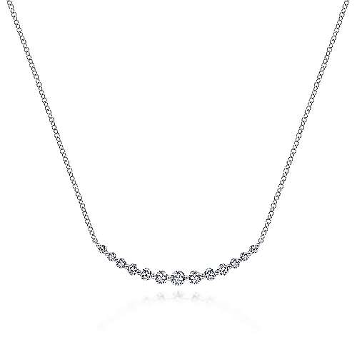 Gabriel - 14k White Gold Graduated Round Diamond Curved Bar Necklace