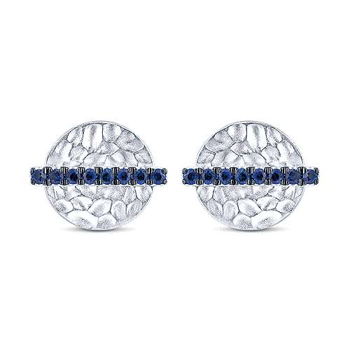 14k White Gold Hammered Disc Sapphire Bar Stud Earrings