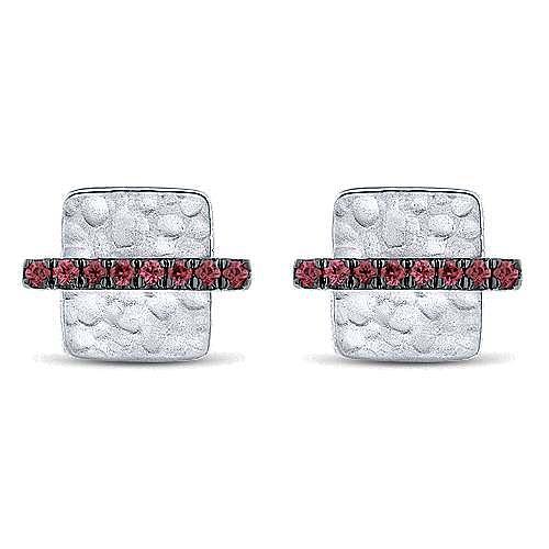 14k White Gold Hammered Square Ruby Bar Stud Earrings