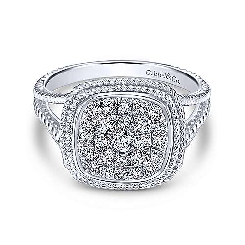 14k White Gold Hampton Classic Ladies' Ring angle 1
