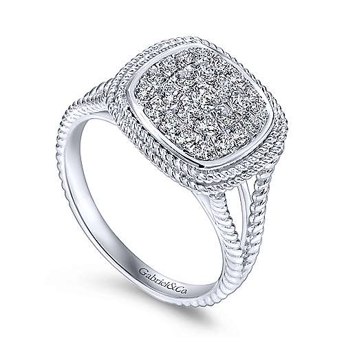 14k White Gold Hampton Fashion Ladies' Ring angle 3