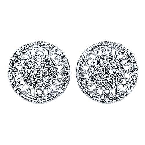 14k White Gold Hampton Stud Earrings angle 1
