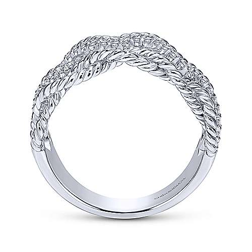 14k White Gold Hampton Twisted Ladies' Ring angle 2