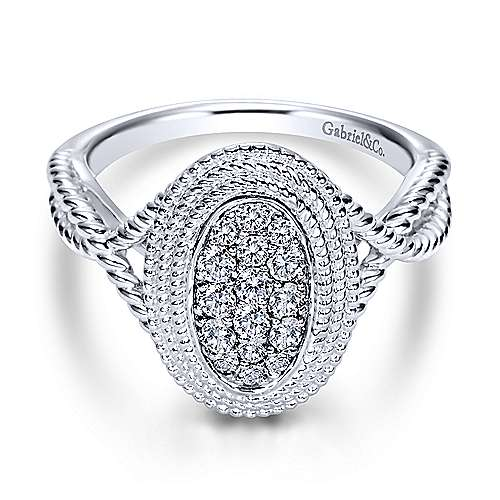 Gabriel - 14k White Gold Hampton Twisted Ladies Ring