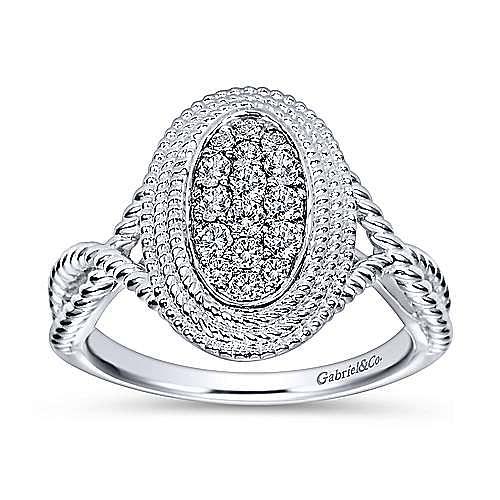 14k White Gold Hampton Twisted Ladies Ring