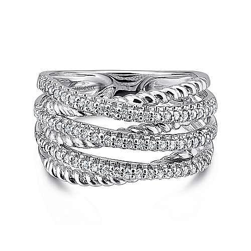 Gabriel - 14k White Gold Hampton Wide Band Ladies' Ring