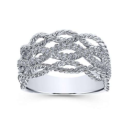 14k White Gold Hampton Wide Band Ladies' Ring angle 4