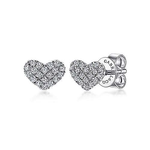 14k White Gold Heart Shaped Pave Diamond Stud Earrings