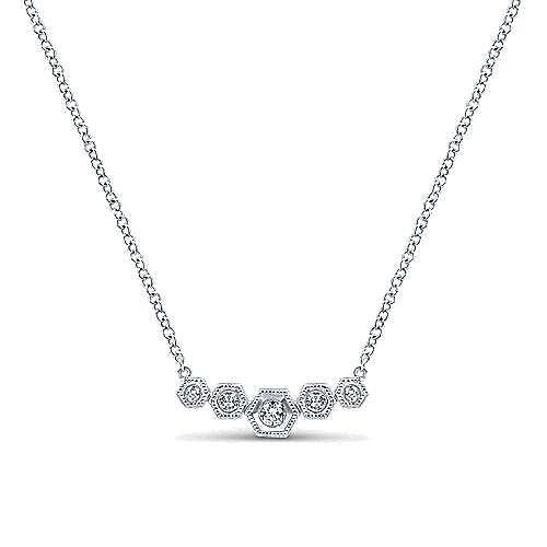 14k White Gold Hexagonal Diamond Bar Necklace