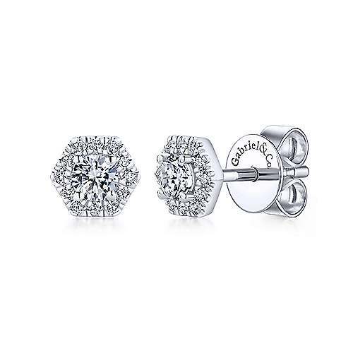 Gabriel - 14k White Gold Hexagonal Diamond Halo Stud Earrings