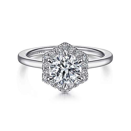 Gabriel - 14k White Gold Hexagonal Halo Round Diamond Engagement Ring