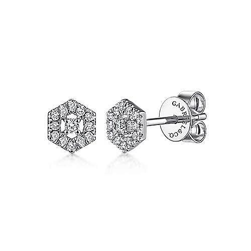 14k White Gold Hexagonal Pave Diamond Halo Stud Earrings