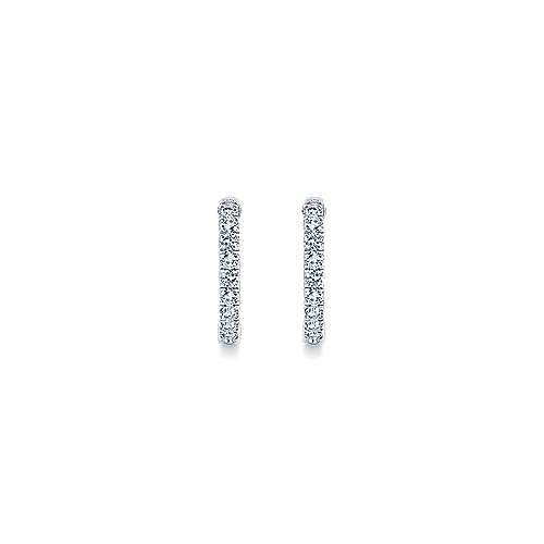 14k White Gold Hoops Classic Hoop Earrings angle 3