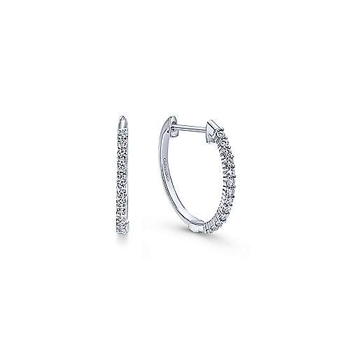14k White Gold Hoops Classic Hoop Earrings angle 1