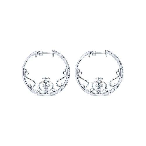 14k White Gold Hoops Intricate Hoop Earrings angle 2