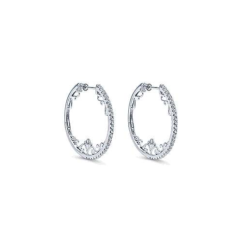 14k White Gold Hoops Intricate Hoop Earrings angle 1