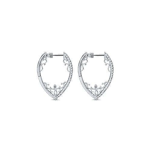 14k White Gold Hoops Intricate Hoop Earrings angle 2