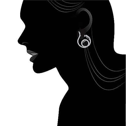 14k White Gold Hoops Intricate Hoop Earrings angle 4