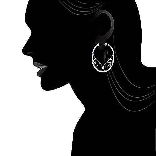 14k White Gold Hoops Intricate Hoop Earrings angle 5